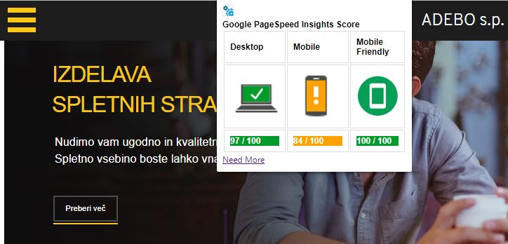 Google Page Speed mobile ADEBO